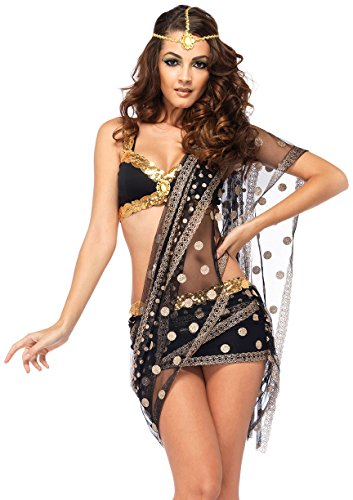 Leg Avenue Women's 3 Piece Bollywood Darling Costume, Black/Gold, (Sexy Harem Girl Costumes)