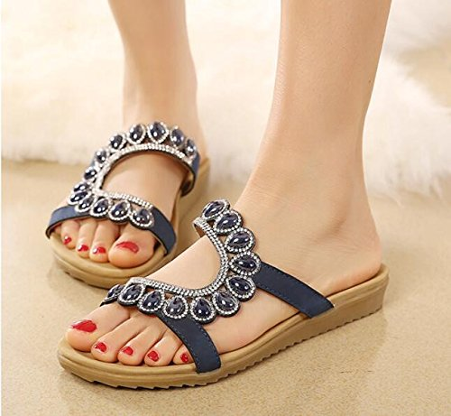 Drag New Version Shoes 2 Korean Flat Slippers Word Casual Summer Of Women Sandals KHSKX And Shoes The Bottomed Slippers Drop Blue With 35 A Cm Flat Beach w8ZdqdxIB