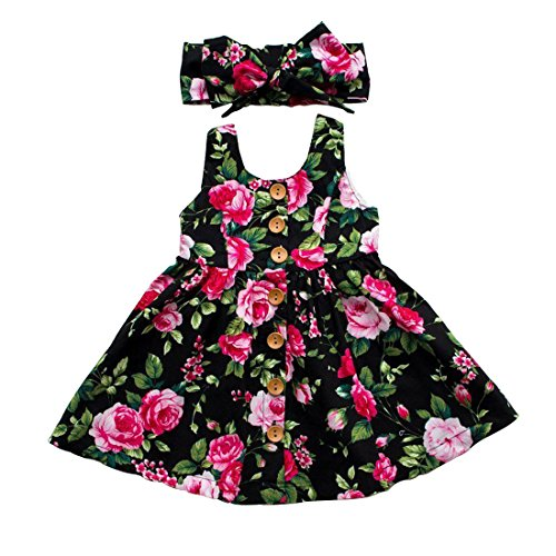 GRNSHTS Baby Girls Flower Print Buttons Ruffles Dress with Headband (Black, 6-12 Months)