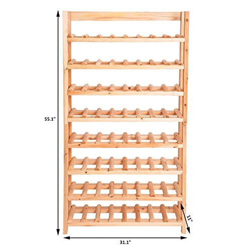 120 Bottles Wine Rack Free Standing Vertical Design 8 Tiers Solid Wooden Rustic Wood Construction Shelves Storage Display Home Kitchen Décor
