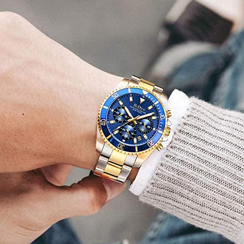 Mens Watches Chronograph Stainless Steel Waterproof Date Analog Quartz Fashion Business Wrist Watches for Men WeeklyReviewer