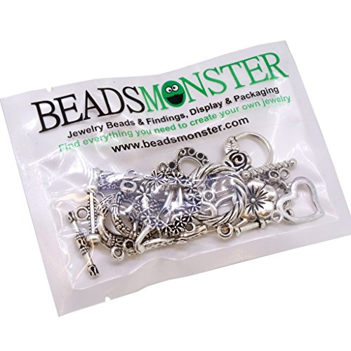 Tibetan Style Ring Toggles & T bars Clasps, Mixed Shape, Antique Silver, Pack of 12 ()