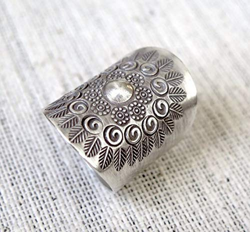 Sterling Silver Solar Mandala Boho Long Statement Ring, Handmade Star symbol Ethnic Adjustable Gypsy Hippie ring