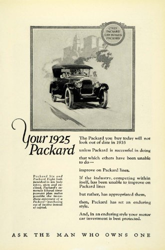 1925 Ad Antique Covered Convertible Packard Six Eight Ask the Man Who Owns One - Original Print Ad