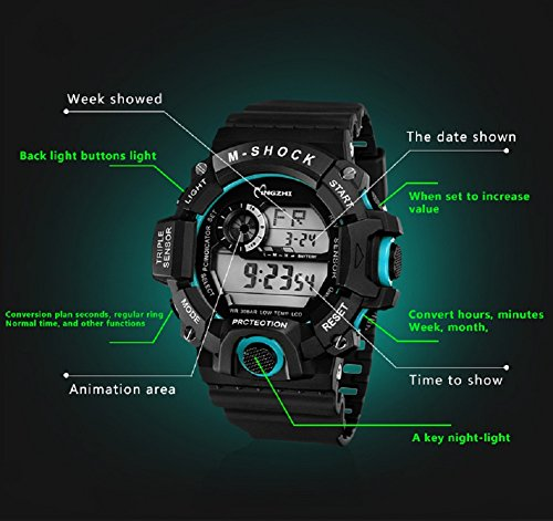 ChezAbbey Men' s Sports Digital watches LED Waterproof Wrist Watch Anti shock Time Week Date Display + Military 12/24 Hours