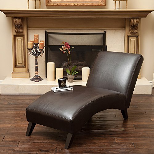 Christopher Knight Home Cleveland Brown Leather Curved Chaise Lounge Chair