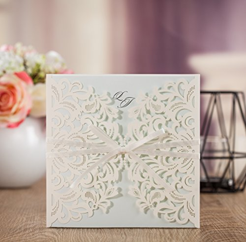 Wishmade 100x Laser Cut Square Invitations Cards Kit for Wedding Party Birthday with Tri-fold Printable Insert Pages AW7015