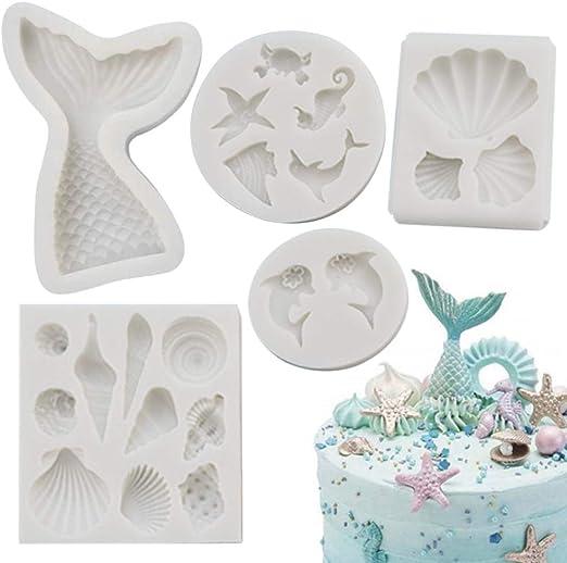 SUNKOOL Silicone Seashell Sea Shell Sea Creatures Sea Star Starfish Mermaid Tail Cake Decorating Mold Chocolate Sugarcraft