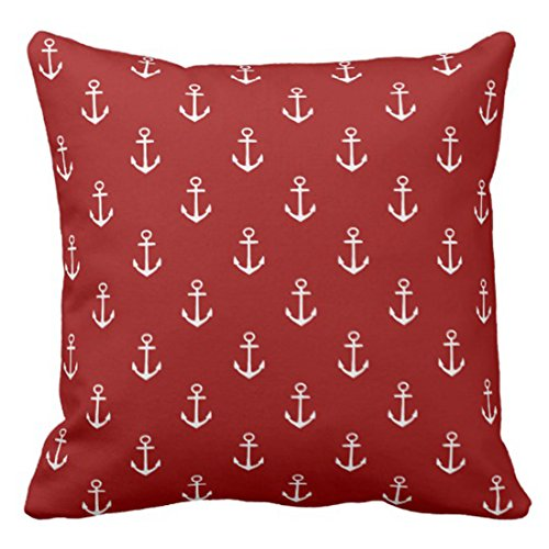 Emvency Throw Pillow Cover Cute Preppy Nautical Red with White Anchor Decorative Pillow Case Home Decor Square 18 x 18 Inch Pillowcase ()
