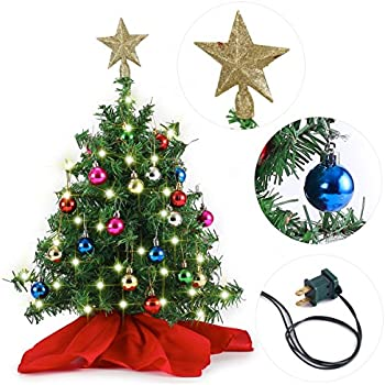20 Tabletop Mini Christmas Tree Set With Clear Led Lights Star Treetop And Ornaments Best Diy Christmas Decorations