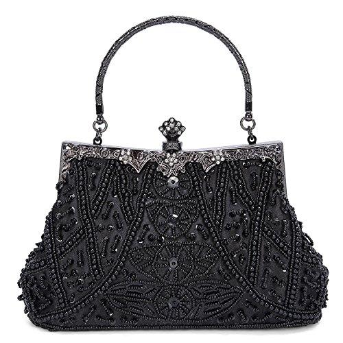 Femmes A Main Filles Pour Portefeuille Sac Sac satin Mariage Noir Noir perles de Soirée Sac en Pochette avec pour Chic Ivq1wI