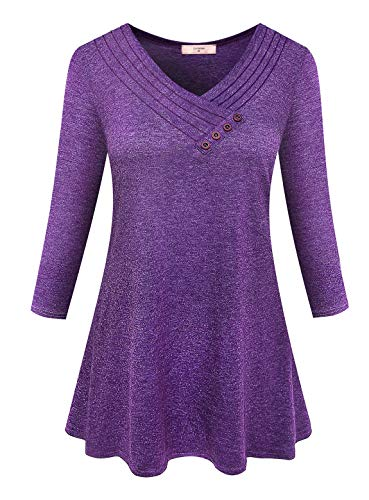 Luranee Zulily Tunics for Women, Modest 3/4 Sleeve Business Casual Clothes Embellished Tops Feminine Professional Career Blouses V Neck Work Shirts Graceful Office Wear Tops XXL Purple