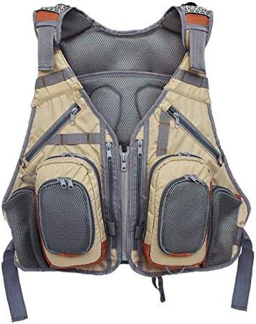 XSHD アウトドア釣りベストバックパック調節可能なマルチポケット通気性メッシュフィッシングベストパックスポーツバックパックオーバーオール (Color : Khaki)