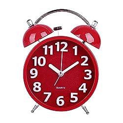 HENSE 4 Smart Nightlight Twin Bell Alarm Clock, Silent Non-ticking Quartz Analog Retro Vintage Nightstand Alarm Clock with Loud Alarm for Heavy Sleeper HA05 (Red)