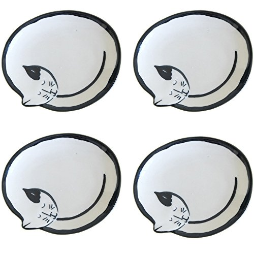 SOCOSY Cute Cat Ceramic Seasoning Dish/Sauce Dish/Sushi Soy/Dipping Bowl/Appetizer Plates/Serving Dish for Home Kitchen 3.5''(Set of 4) - 3.5' Dipping Bowl