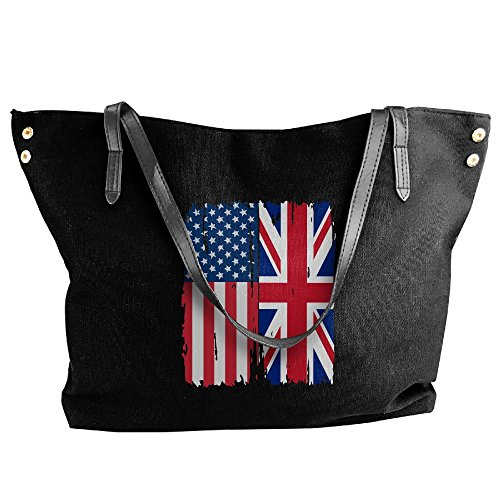 (SW98Q98 American British Flag Women's Leisure Shoulder Bag Canvas Bag for Shopping Big Shopping Bag)