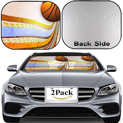 MSD Car Windshield Sun Shade, Universal Fit 2-Piece Foldable Car Sunshade, Block Sun Glare, UV and Heat, Sun Visor,Basketball Advertising Poster Vector Illustration Image ID 10271076