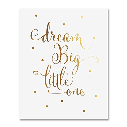 Amazon.com: Dream Big Little One Gold Foil Decor Gold Nursery Decor ...
