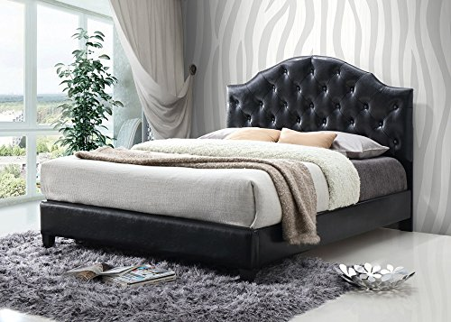 Luxury Tufted Buttons Leather Upholstered Platform Bed with Wooden Slats, Queen Bed Frame (Black)