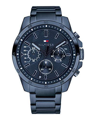 Tommy Hilfiger Herren Multi Zifferblatt Quarz Uhr mit Edelstahl Armband 1791560