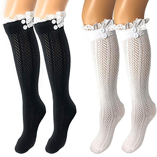 Rusoji 2 Pairs Women's Knitted Knee High Cotton Blend Boot Socks, Leg Warmer Stockings with Ruffled Lace Button Trim - Ruffled Stockings Size Plus