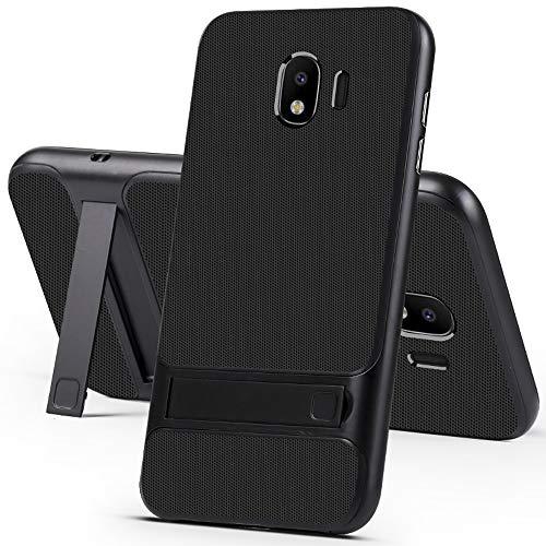 Galaxy J4 2018 Case, Ranyi [2 Piece Carbon Fiber] [Kickstand Feature] [Shock Resistant] Premium Hybrid Hard Bumper + Matte Carbon Fiber Rubber 2 in 1 Case for Samsung Galaxy J4 (2018) Black