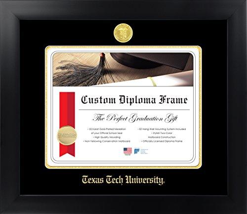 Celebration Frames Texas Tech University 11 x 14 Matte Black Finish Infinity Diploma Frame
