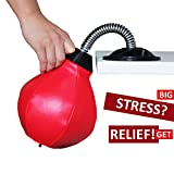 REEHUT Desktop Punching Bag/Ball Stress Buster, Stress Relieve, with Strong Suction Cup, Pump Equipped, Designed for Work, a Great Gift for Yourself, Boss and Co-Workers (Red)
