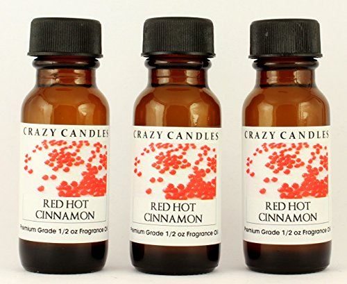 Red Hot Cinnamon 3 Bottles 1/2 FL Oz Each (15ml) Premium Grade Scented Fragrance Oil by Crazy Candles