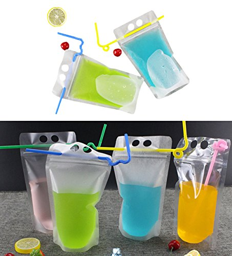 UPlama 50Pcs Drink Pouches Bags,Stand Up Drinks Pouches Bags with Plastic Flexible Straws by UPlama