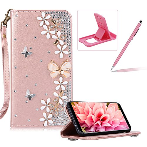 Diamond Leather Case for Samsung Galaxy J7 2016 J710,Rose Gold Strap Wallet Cover for Samsung Galaxy J7 2016 J710,Herzzer Luxury 3D Butterfly Decor Design Stand Glitter Magnetic Smart Leather Case