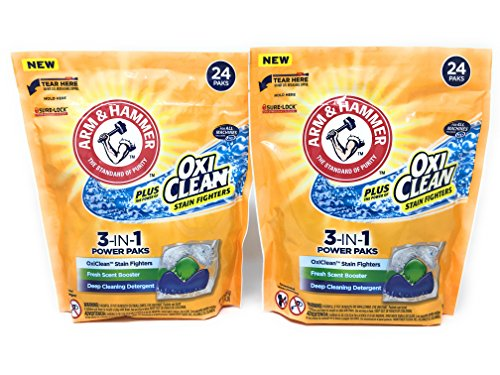 Arm & Hammer 3-IN-1 Laundry Detergent Power Paks, Fresh Scent with OxiClean, 24 ct (Pack of 2) (Arm And Hammer 3 In 1 Power Paks)