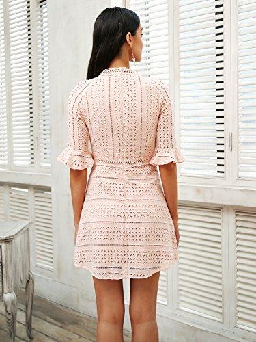 Abito Mezzo Manicotto Mini Abito Donna Rosa Pizzo Abbigliamento Elegante Simplee Di XXHwTdrq