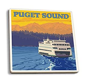 Puget Sound - Ferry and Mountains (Set of 4 Ceramic Coasters - Cork-backed, Absorbent)