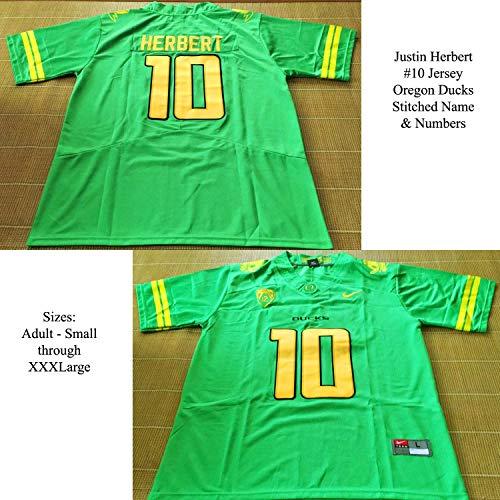 CustomCat Justin Herbert #10 Oregon Ducks Green Jersey