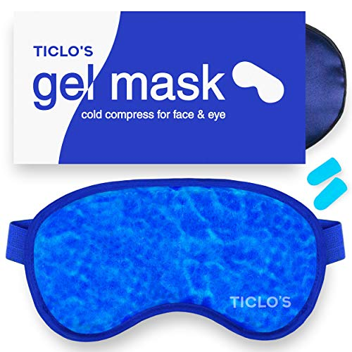 TICLO'S Gel Eye Mask - Reusable Cooling Eye Mask Cold Compress For Puffy Eyes, Migraines, Headaches, Blepharitis, Pink Eye, Dark Circles, Dry Eye, Sinus, Allergy & Pain Relief - BONUS Silk Sleep Mask