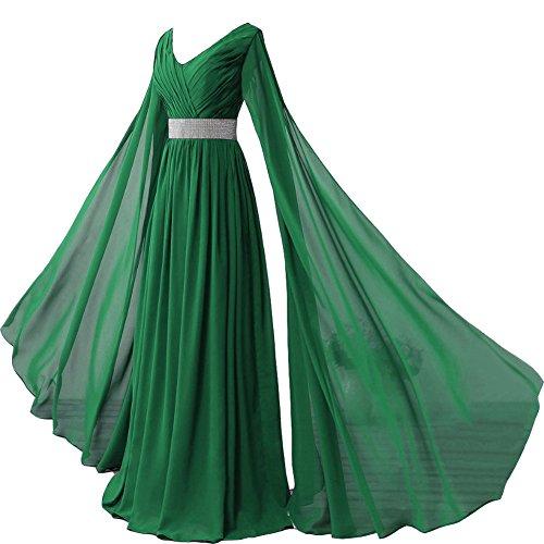 Kivary V Neck Long Sleeves Chiffon Goddess Prom Vintage Evening Dresses Green US -