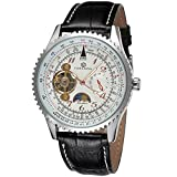 GuTe Dress Moon-phase Auto Mechanical Watch Silver White Dial rose-gold Numerals slide-rule