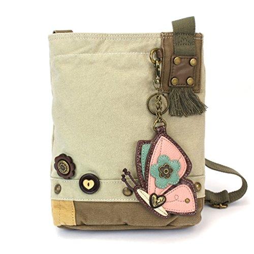Chala Patch Cross-Body Women Handbag, Canvas Messenger Bag - Butterfly - Sand ()
