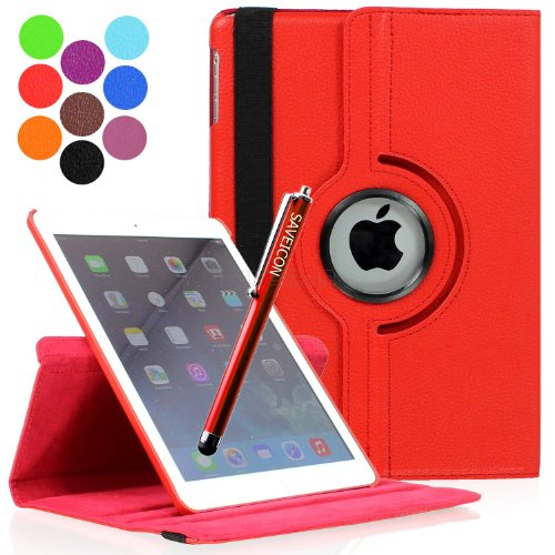SAVEICON SAWE (TM) Red PU Leather 360 Rotating Folio Stand Case Cover for Apple iPad Air iPad 5 (With Auto Wake/Sleep Smart Cover Function) + Long Stylus