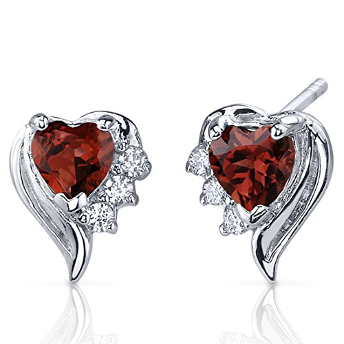 Cupids Grace 1.00 Carats Garnet Heart Shape Earrings Sterling Silver