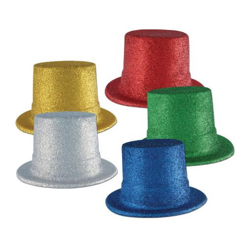 Glittered Top Hats asstd colors UPC's: B-127598/ G-308027/ (GD-127628/ R-12763 5/ S-127642) Party Accessory  (1 coun