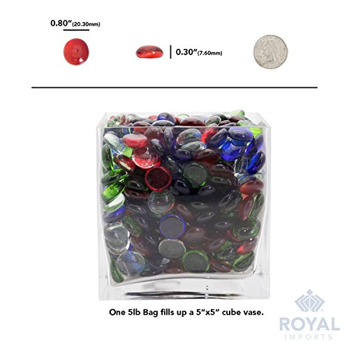 Red Flat Marbles, Pebbles, Glass Gems for Vase Fillers, Party Table Scatter, Wedding, Decoration, Aquarium Decor, Crystal Rocks, or Crafts by Royal Imports, 5 LBS (Approx 400 pcs) by Royal Imports (Image #5)