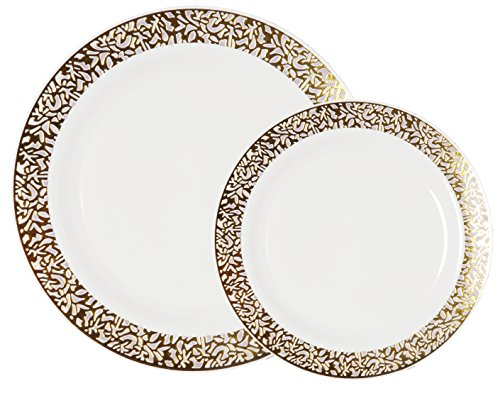 Party Joy 200 Piece Plastic Dinnerware Set Lace Collection 100 Dinner Plates 100 Salad Plates Heavy Duty Premium Plastic Plates For Wedding Parties Camping More White W Gold