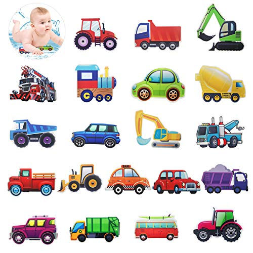 CIEOVO 20 Set Non-Slip Bathtub Stickers, Mildew Resistant Transportation Vehicle Tractor Cars Trucks Excavator Decal Treads, Adhesive Safety Anti-Slip Appliques for Bath Tub and Shower Surfaces