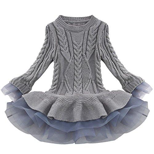 YiZYiF Mädchen Kleid Wolle Strick Kleid Knit Sweater Langarm Shirt Partykleid Winter Warm Bekleidung (116-122 (Herstellergröße:140), Grau)