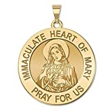 Immaculate Heart of Mary Religious Medal 14K Yellow or White Gold, or Sterling Silver
