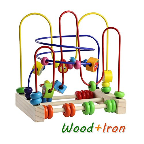 Wooden Fruits Bead Maze Roller Coaster Educational Abacus Beads Circle Toys Gift Colorful Activity Game for Children Toddlers Kids Boys Girls by Fajiabao (Image #6)