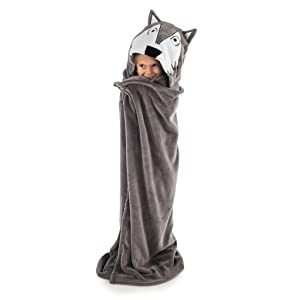 Howl of A Night Childrens Hooded Animal Critter Blankets by LazyOne | Childrens Dress Up Large Travel Blanket (ONE Size)