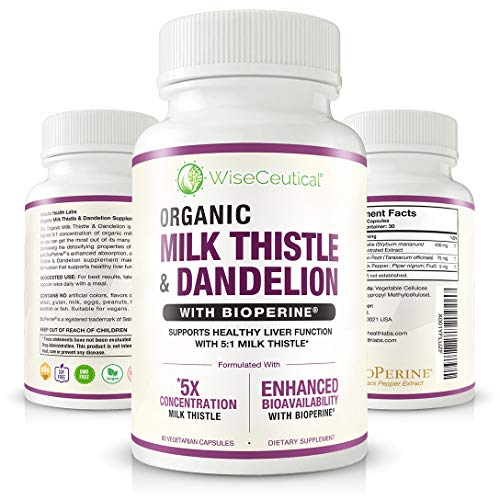 Max Absorption Organic Milk Thistle (Strongest 5:1 Concentrated Extract) & Organic Dandelion Root with BioPerine | Hangover Prevention & Relief - Liver Support and Alcohol Detox. 60 Veggie Capsules. (Dandelion Large)